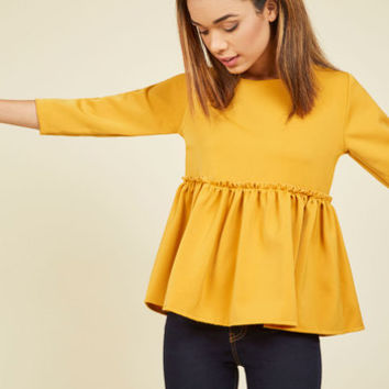 Peplum Perfection Ruffled Top | Mod Retro Vintage Short Sleeve Shirts | ModCloth.com