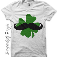 Mens Mustache Iron on Transfer - Shamrock Iron on Shirt PDF / Irish Mustache Shirt / Kids St. Patricks Day Tshirt / Green Boys Shirts IT175