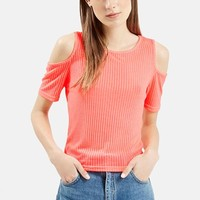 Women's Topshop Cold Shoulder Ribbed Top