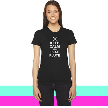 Keep calm and Play Flute women T-shirt