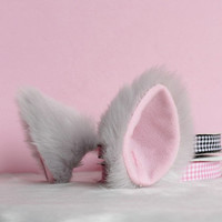 Light gray long Fur inner  pink Cat Ear cat ear clip Cosplay Costumes Party Black Friday Cyber Monday Costume Cosplay Party