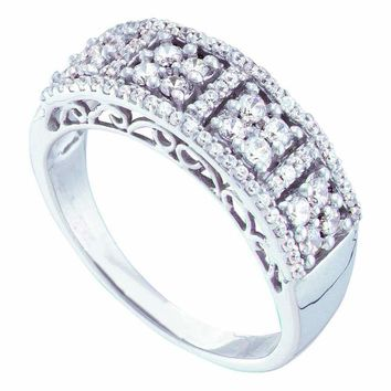 14kt White Gold Womens Round Diamond Symmetrical Cluster Band Ring 1/2 Cttw