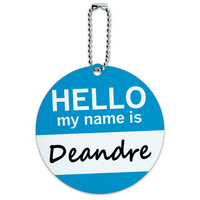 Deandre Hello My Name Is Round ID Card Luggage Tag