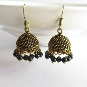 Gold Antique Black Dangle Jhumka Earrings Online/ Indian Jhumka/ Jaipur Jhumka/ Tribal Boho Jhumka/ India Ethnic Traditional Earrings