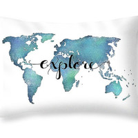 Explore Pillow Quote Pillow - World Map Decor Travel Pillow - Aqua Pillow with Words - Decorative Throw Pillows - Teal Pillow Dorm Pillows