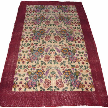 Sale Allover Design Floral Turkish Vintage Rug 7'10'' x 4'11'' Free Shipping
