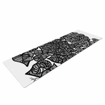 "Adriana De Leon ""Hidden Hearts"" Black White Yoga Mat"
