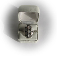 Sterling Silver Cocktail Ring with Elliptical Geometric Floral Mother of Pearl Design