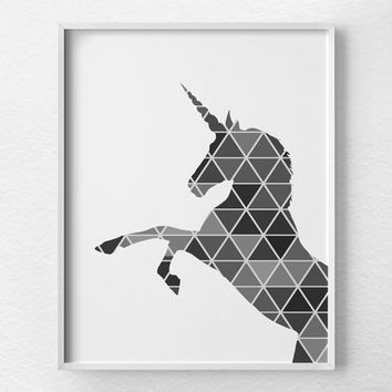 Geometric Unicorn Print, Unicorn Art, Unicorn Silhouette, Unicorn Poster, Nursery Decor, Fantasy Art, Geometric Art, Modern Decor, 0329
