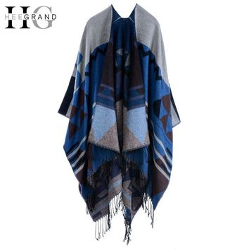 Women Winter Scarf Knitted Shawl Outwear Autumn Patterned Scarves Women Long Capes Wrap Tassel Foulard