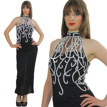 sequin beaded dress 80s silk dress  art deco dress geometric party maxi dress cocktail party dress wiggle dress M   B1317