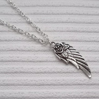 silver angel wing necklace handmade necklace fashion jewellery angel wing charm necklace silver necklace gift for women silver jewellery