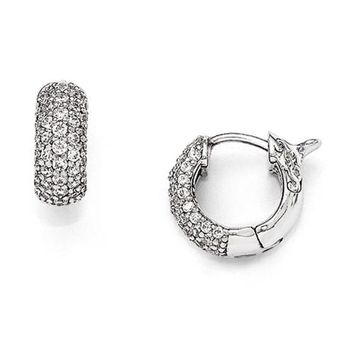 Sterling Silver Rhodium Plated Cz Small Hinged Hoop Earrings