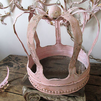 Handmade huge crown shabby cottage chic hand cut salvaged metal planter or sculpture centerpiece one of a kind home decor anita spero design
