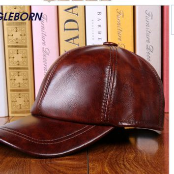 New Cap Leather Baseball Hat Men Mens Adjustable New S Black Strap Solid Women