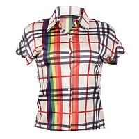 Burberry New fashion plaid multicolor stripe women top shirt