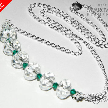 ON SALE Crystal Silver Necklace, Swarovski Crystal Beads, Crystal Emerald Green Necklace, Crystal Green Silver Jewelry Free US Shipping