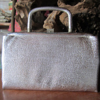 50s Shimmering Silver Clutch by Stylemark by Mutterperl // Vintage Evening Bag w/ Fold in Handle