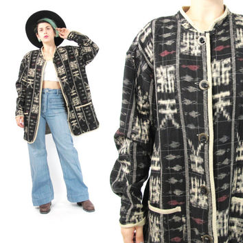Vintage Ikat Jacket Army 90s Reversible Jacket Southwest Asian Jacket Aztec Tribal Print Jacket Taupe Black Hippie Boho Coat Pockets (L)