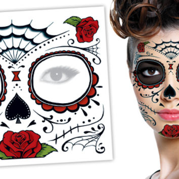 Day of the Dead Roses Face Halloween Skull Temporary Tattoo - Tattoo Manufacturing - Worlds Largest Manufacturer of Temporary Tattoos