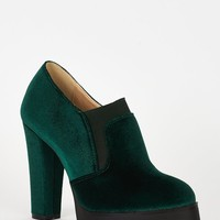 Green Velvet Block Heel Platform Shoes