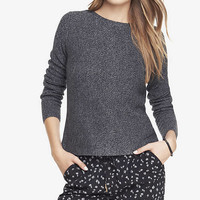 MARLED HORIZONTAL SHAKER KNIT HI-LO HEM SWEATER from EXPRESS