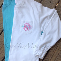 Lilly Pulitzer / Vineyard Vines State Monogrammed Tee - Short or Long Sleeve / Bridesmaid Gift / sorority Letters available