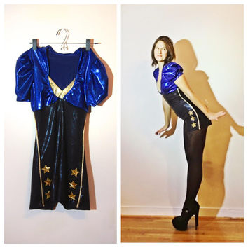 Pin Up Costume Captain Sailor Romper Cosplay Outfit Blue Black and Gold Jumpsuit size Medium