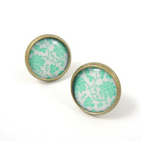 Pastel Mint and White Floral Pattern Earring Studs by MistyAurora