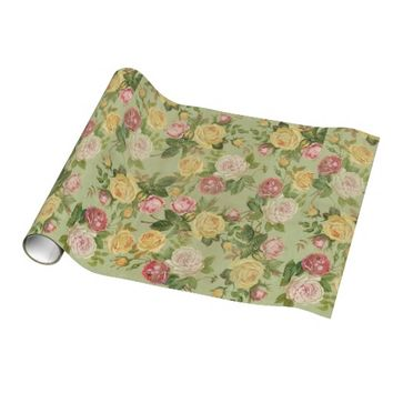 Pretty Vintage Floral Pink and Green Gift Wrapping Paper