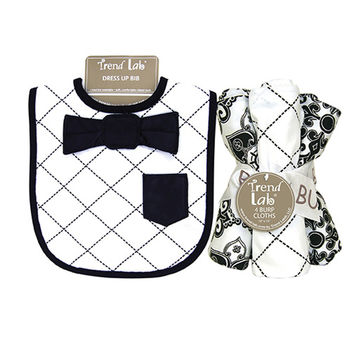 Dress Up Bowtie Bib And Burp Cloth Set - Versailles Black And White