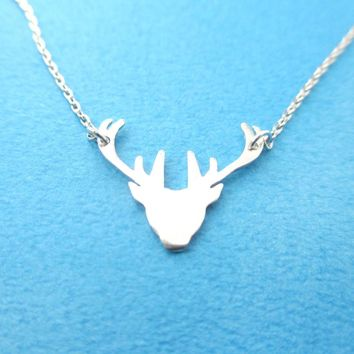 Stag Deer Doe Silhouette Shaped Pendant Necklace in Silver | Animal Jewelry