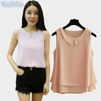 Women Summer Tops Sleeveless Feminine Blouses Plus Size Loose Turn-down Collar White Shirt Fashion Chiffon Blouse For Women