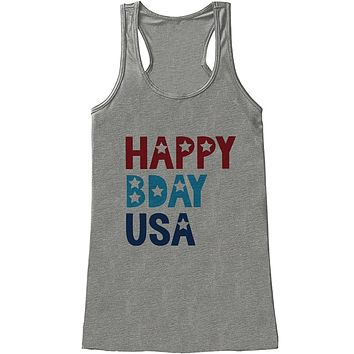 Custom Party Shop Women's Happy Bday USA 4th of July Grey Tank Top