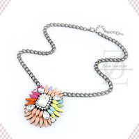 New Fashion Colorful Necklace, Statement Necklace ,Crystal Bib Necklace