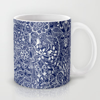 Detailed Floral Pattern in White on Navy Mug by Micklyn