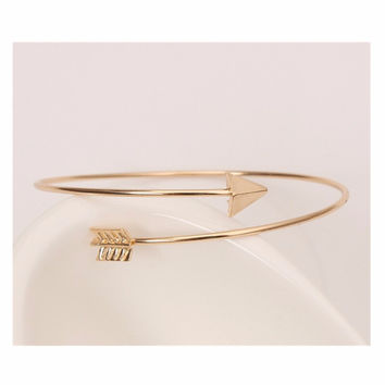 Hot Fashion Bijoux Girl Charm Silver Gold Plated Bow and Arrow Bracelets New 2016 Women Bangle Wedding Jewelry One Direction