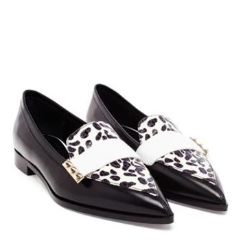 NICHOLAS KIRKWOOD | Black and White Point Toe Flats | Browns fashion & designer clothes & clothing