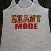 Cheetah Print Beast Mode Burn Out Fitness Tank Top. Burn Out Gym Shirt. Fitness Tank Top. Woman's Work Out Clothing. Racer back Tank this l
