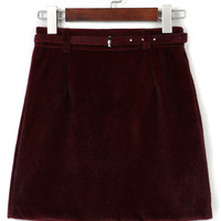 Wine Red Belt High Waist Fluffy Suedette A-line Skirt