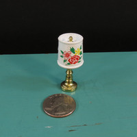 Miniature Table Lamp with Drum Shade Vintage Dollhouse Metal