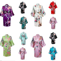 RB014 NEW Summer Style Chinese Women's Silk Rayon Robe Kimono Bath Gown Nightgown S M L XL XXL Bridal Floral Print Robes