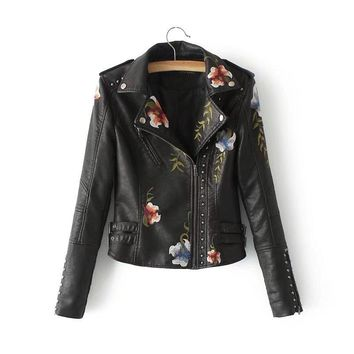 Trendy Sell Ladies Premium Quality Short Genuine Leather Jacket Coat Floral Embroidery Rivet Stud Leather Jacket For Girl Zip Up S-XL AT_94_13