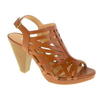 Wishing Well Laser Cut Platform Sandal by CL. Caged Slingback Heel in Rich Brown Vegan Leather. Size 9