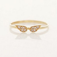 Small Classic Angel Wings Gold and Rhinestone Ring Size 7 Simple Thin