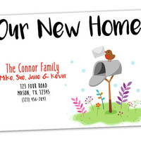 Mailbox Moving Announcement - Bird Robin Moving Announcement Cards - We've Moved - New Address - Change Address Notice - Postcard - Trendy