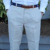 Rugby Plain-front Pant in Natural Tan Linen by Country Club Prep - FINAL SALE