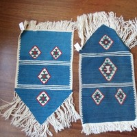 Pair of Ultramarine Service Nappes of Handwoven Kilims, His and Hers