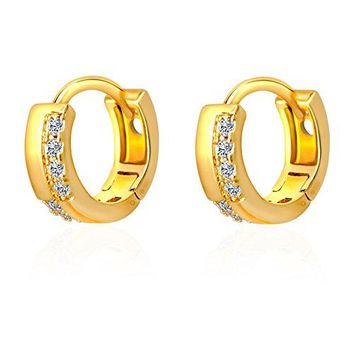 IPINK 18K Gold Plated Round Cut Cubic Zirconia CZ Flawless Small Hoop Earrings