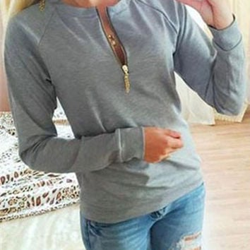 Long Sleeve Leisure Zipper Sweater